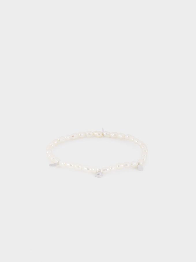 Elastic 925 Sterling Silver Bracelet With Faux Pearl, Beige, hi-res