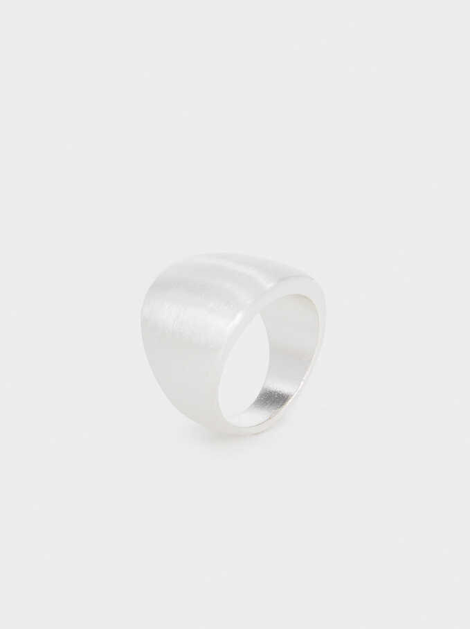 Silver-Plated Brushed Ring, Silver, hi-res