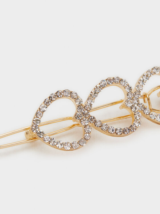 Rhinestone Hearts Hairslide, Golden, hi-res