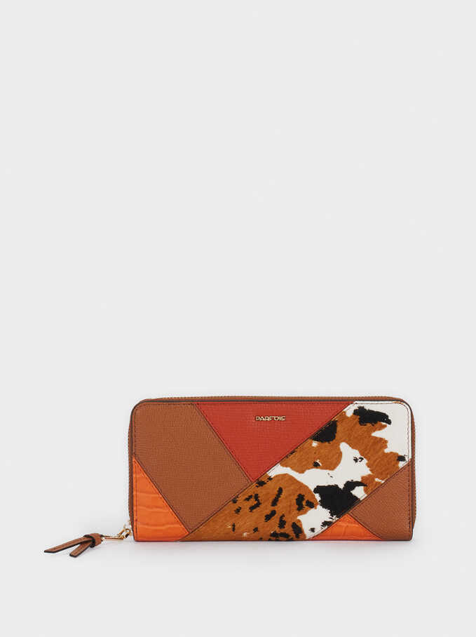 Leather Purse With Patchwork Design, Camel, hi-res