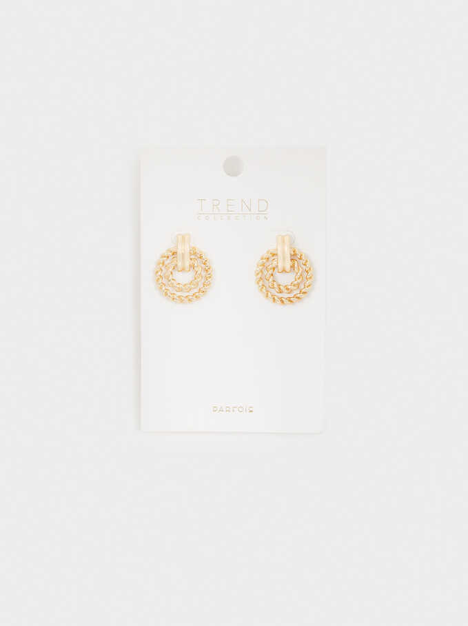 Short Woven Earrings, Golden, hi-res