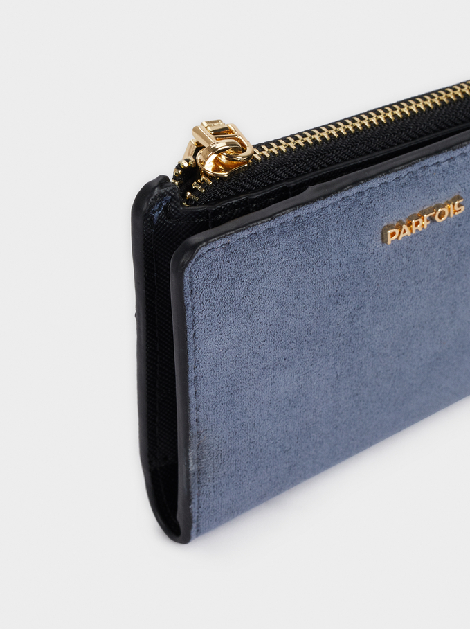 Faux Suede Card Holder With Zip Closure, Blue, hi-res