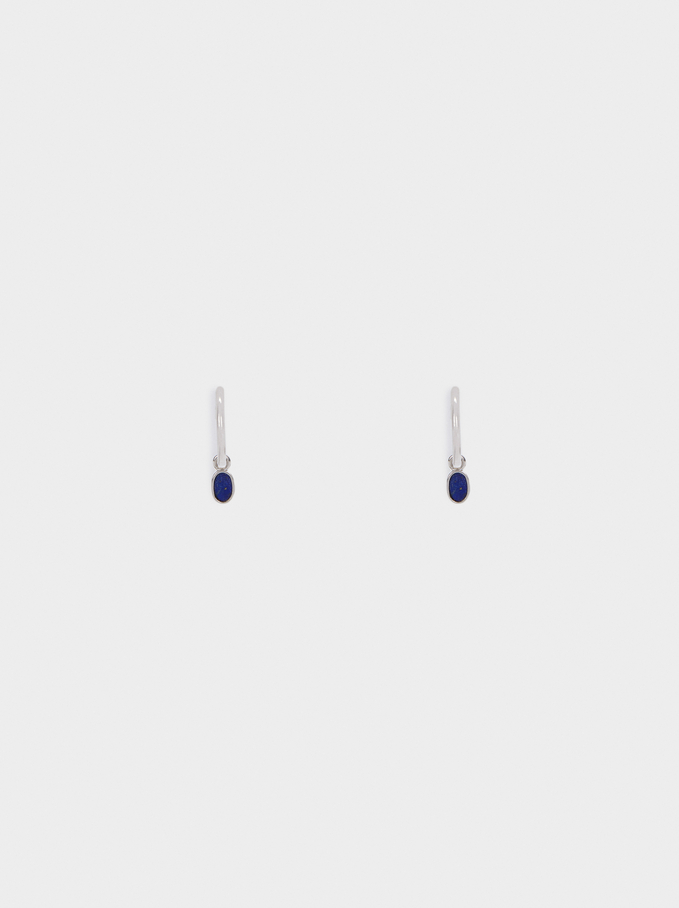 Small 925 Sterling Silver Hoops With Stones, Navy, hi-res