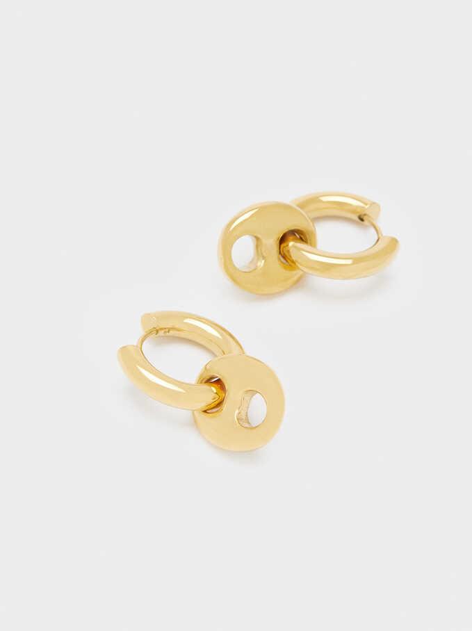 Stainless Steel Hoop Earrings With Pendants, Golden, hi-res