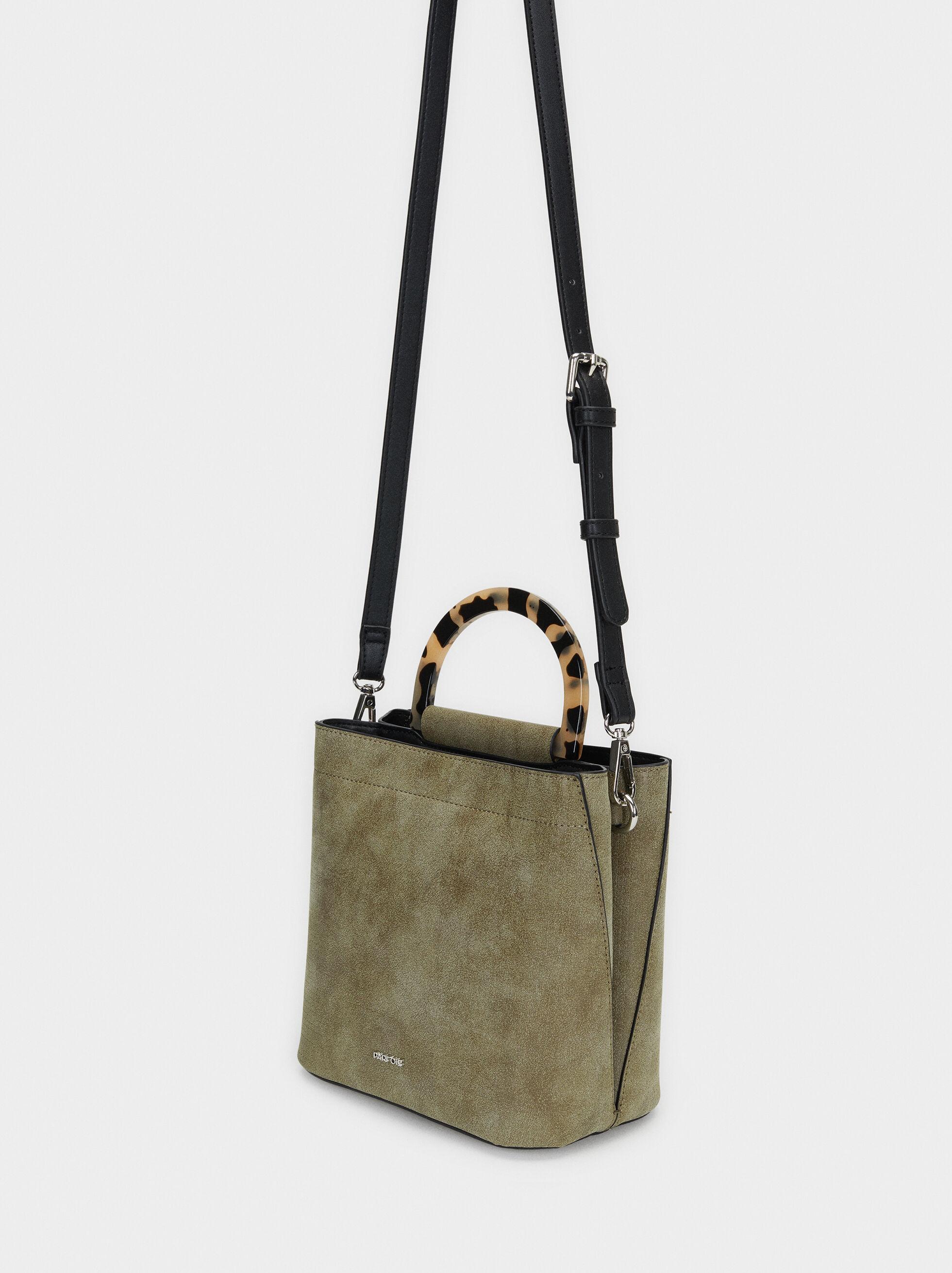 Bucket Bag With Tortoiseshell Handle, Khaki, hi-res