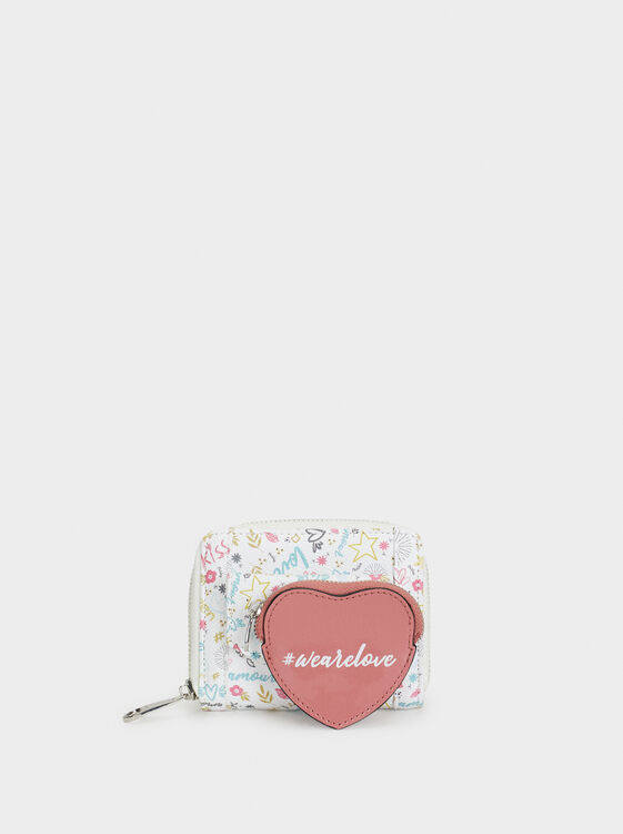 We Are Love Print Small Purse, White, hi-res
