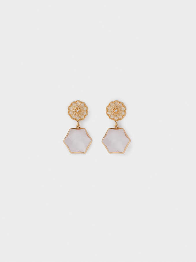 Earrings With Crystal, Golden, hi-res