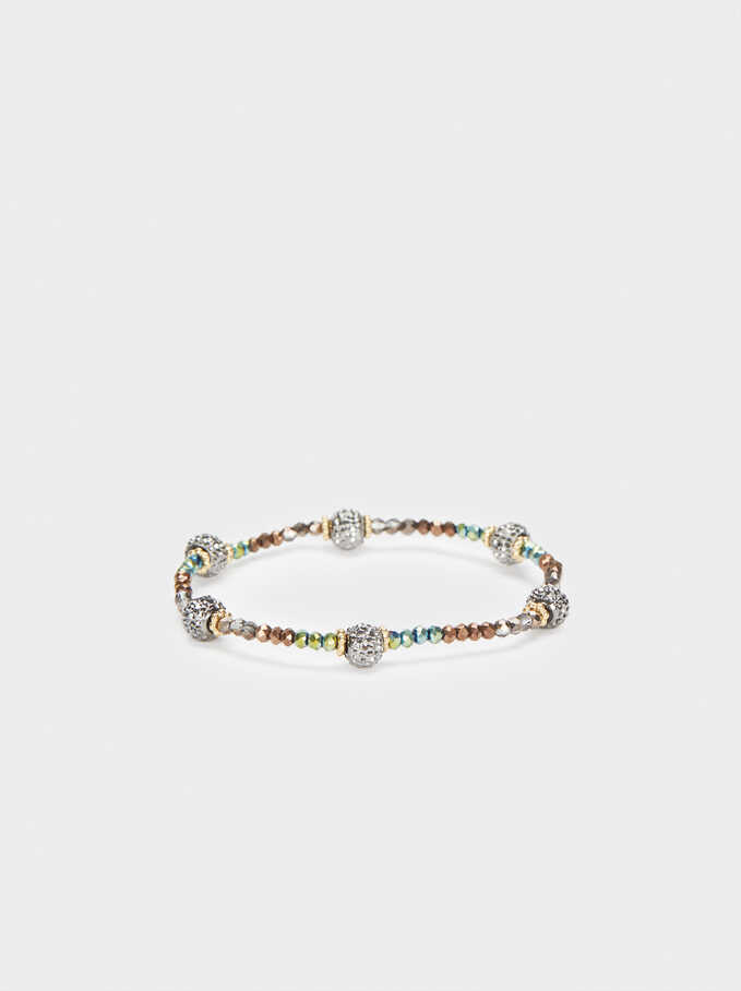 Elastic Bracelet With Multicoloured Crystals, Multicolor, hi-res