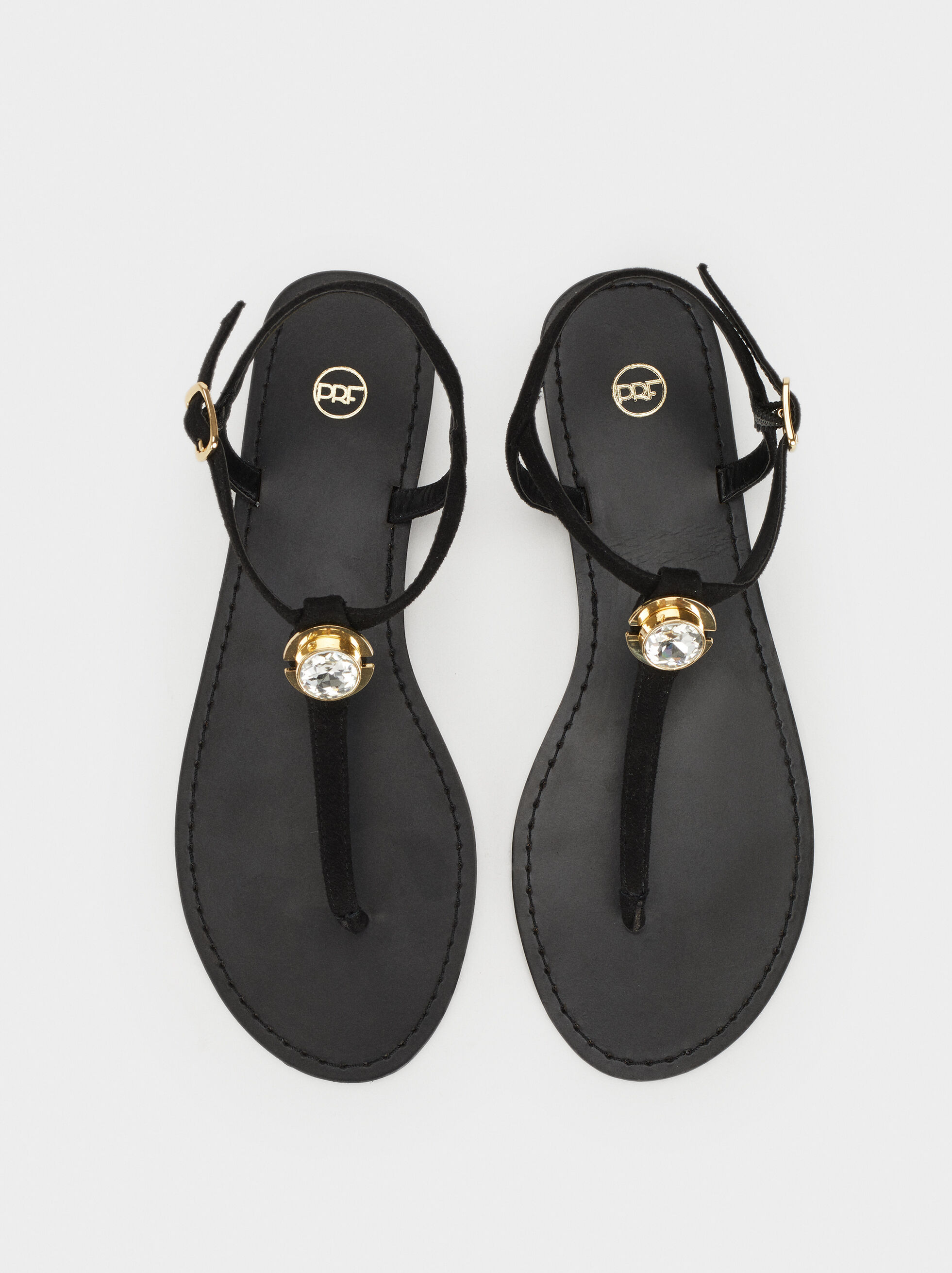 Flat Sandals With Rhinestone Detail, Black, hi-res