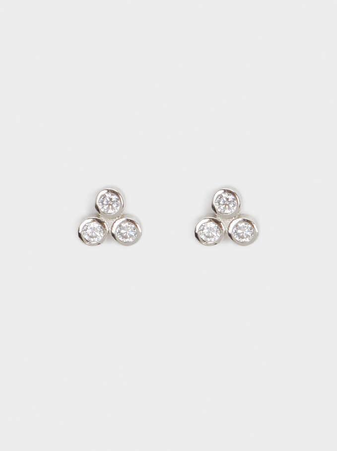 925 Silver Stud Earrings With Rhinestones, Silver, hi-res