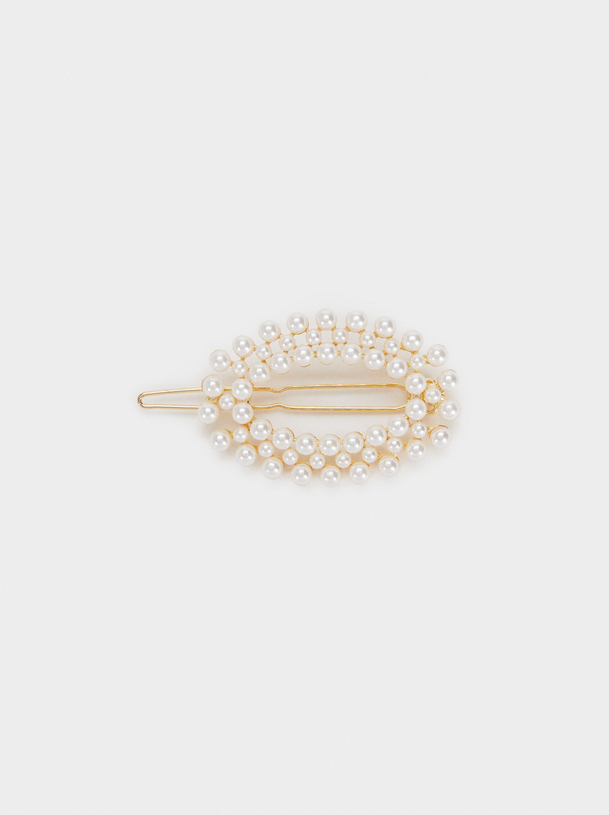 Faux Pearl Hairclip, White, hi-res