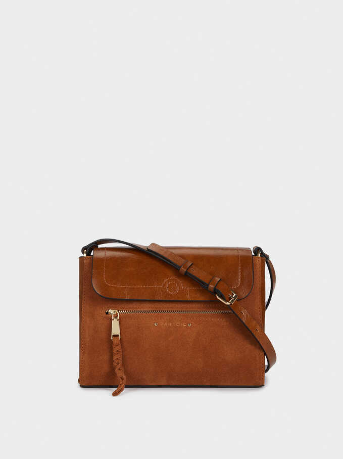 Suede Crossbody Bag With Outer Pocket, Camel, hi-res