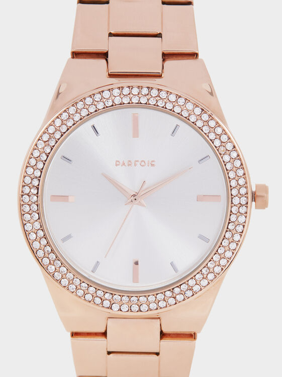 Watch With Rhinestones On The Face, Orange, hi-res