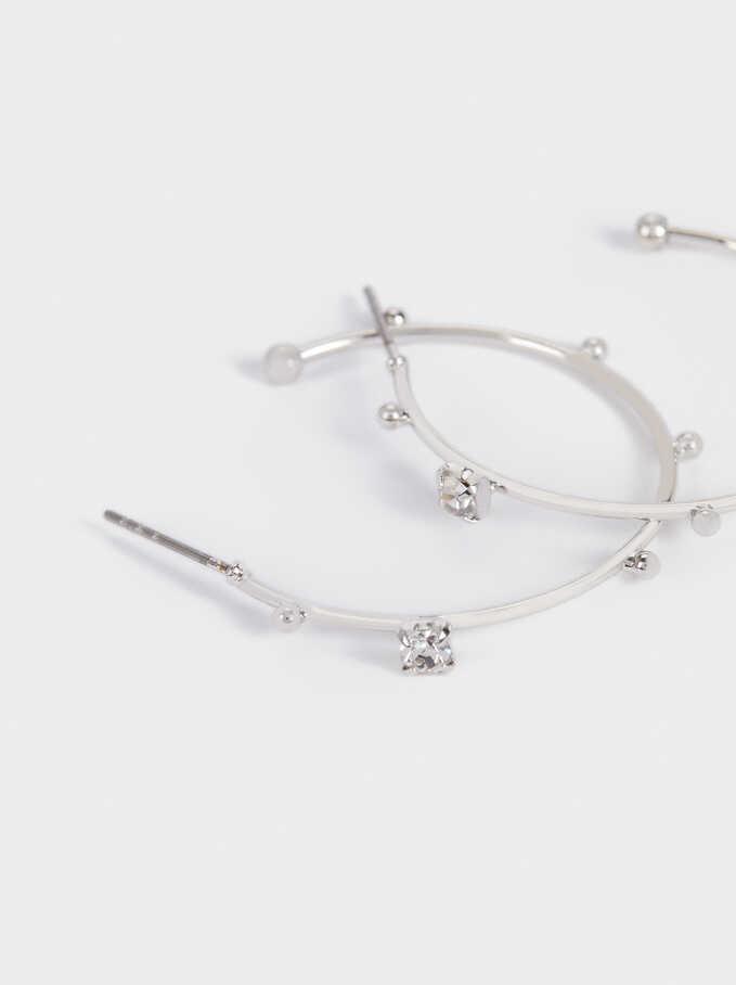 Silver Hoop Earrings With Crystals, Silver, hi-res