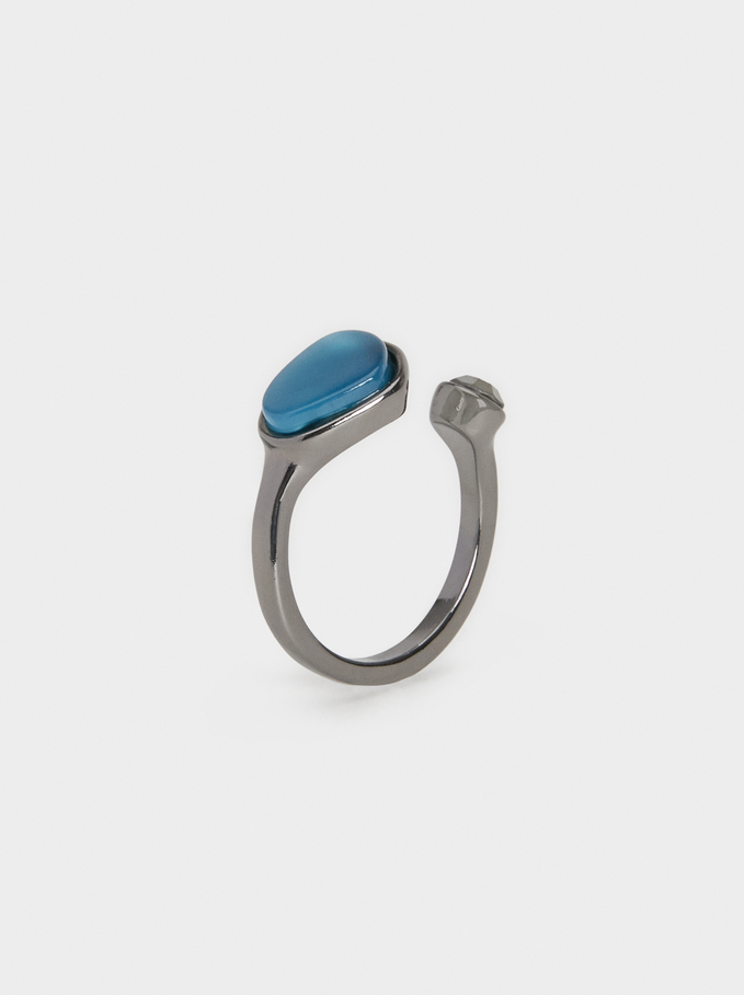 Botanic Party Stone Ring, Grey, hi-res