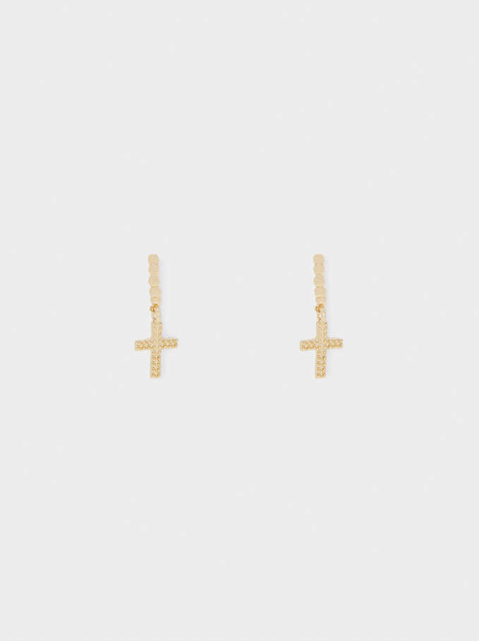 Medium Hoop Earrings With Cross, Golden, hi-res