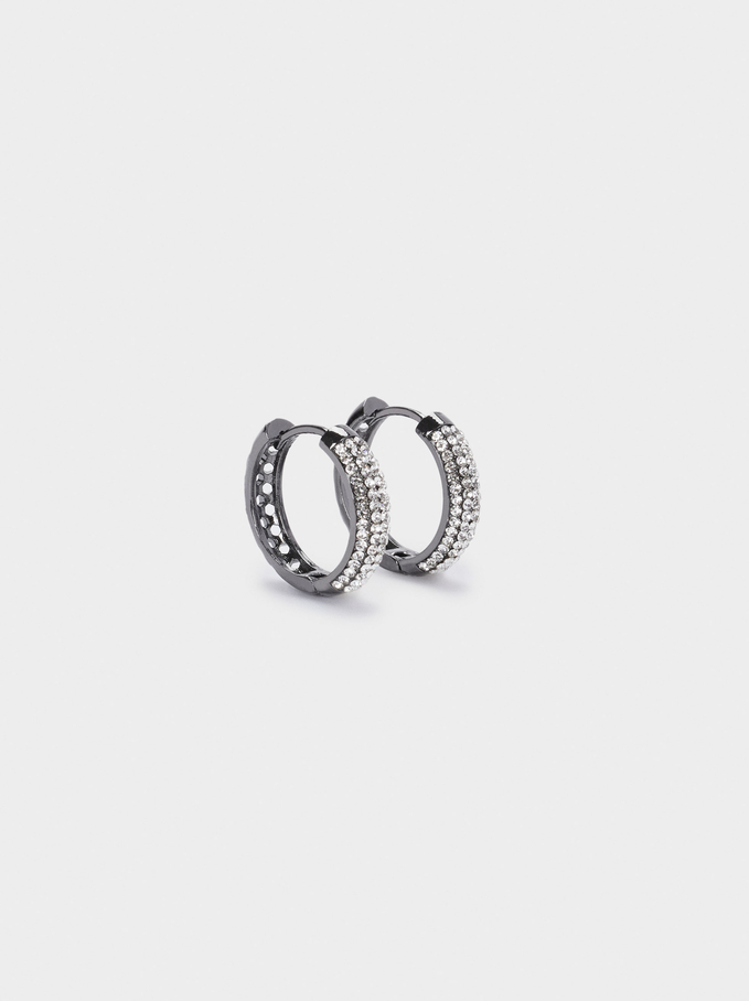 Small Hoop Earrings With Crystals, Silver, hi-res
