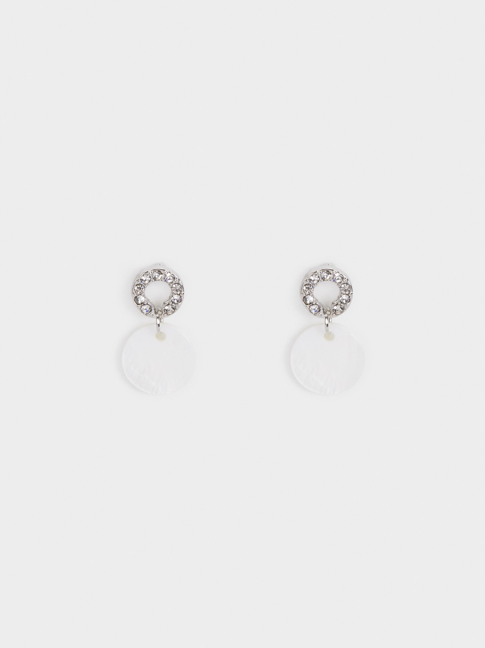 Medium Circle Earrings With Rhinestones, Silver, hi-res