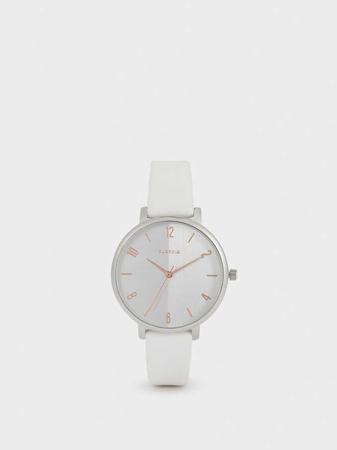 Watch With Leather Texture Strap, White, hi-res
