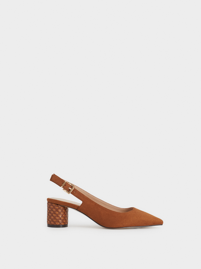 Braided Mid Heel Shoes, Camel, hi-res