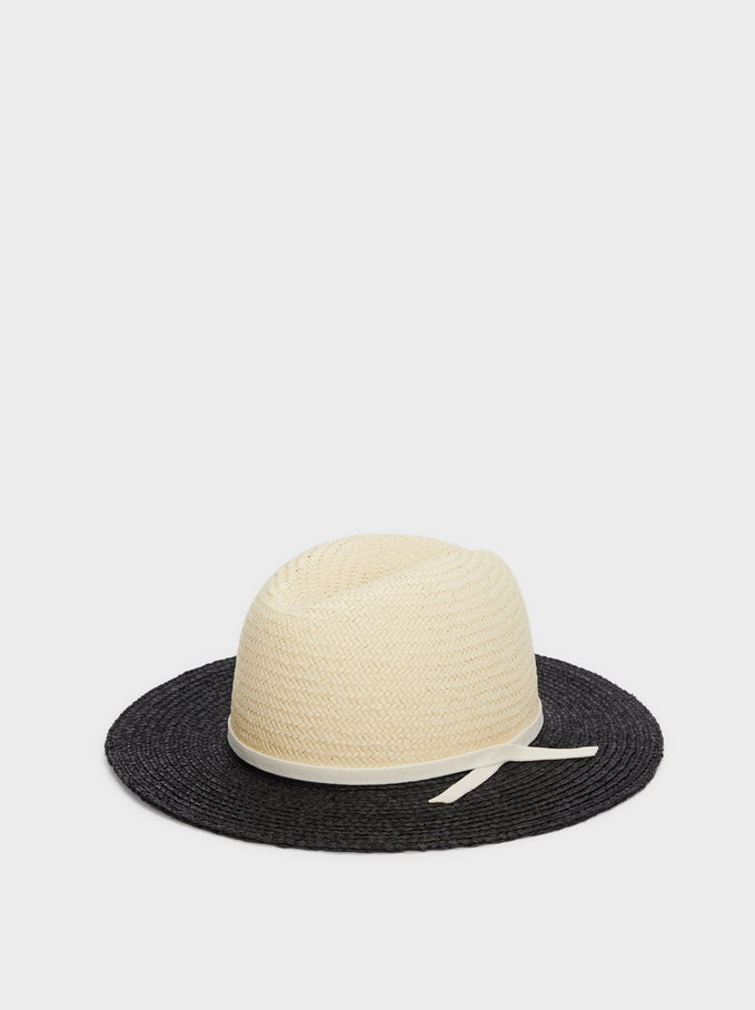 Two-Tone Straw Textured Hat, Black, hi-res