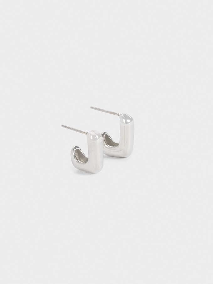 Square-Shaped Hoop Earrings, Silver, hi-res
