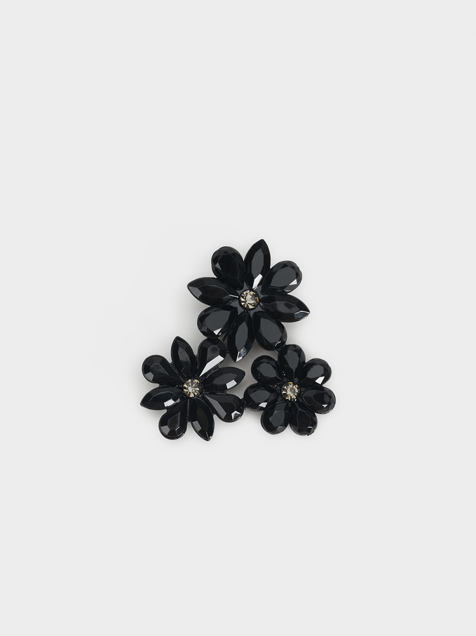 Set Of Flower Brooches, Multicolor, hi-res