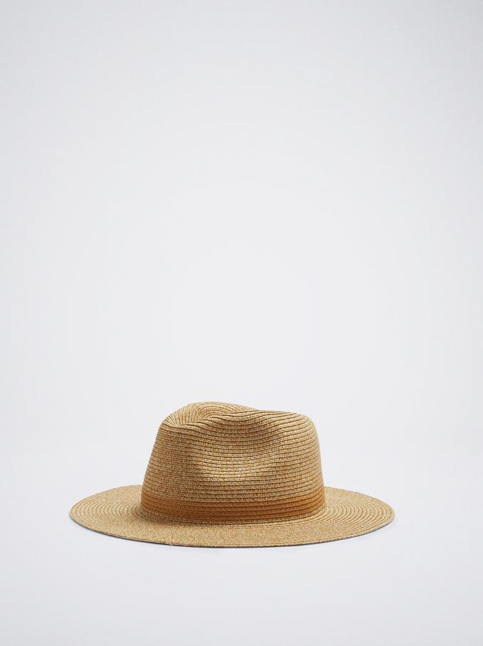 Cappello Texture Rafia, Camel, hi-res