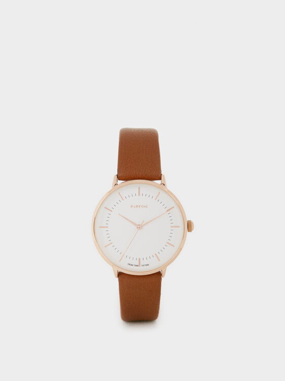Watch With Rose Gold Dial Accents, Brown, hi-res