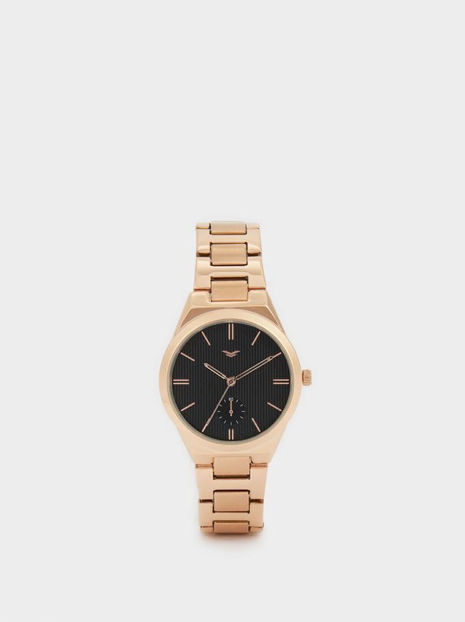 Zegarek Ze Stalowym Paskiem I Tarcza W Kontrastujacym Kolorze, Pomaranczowy, hi-res