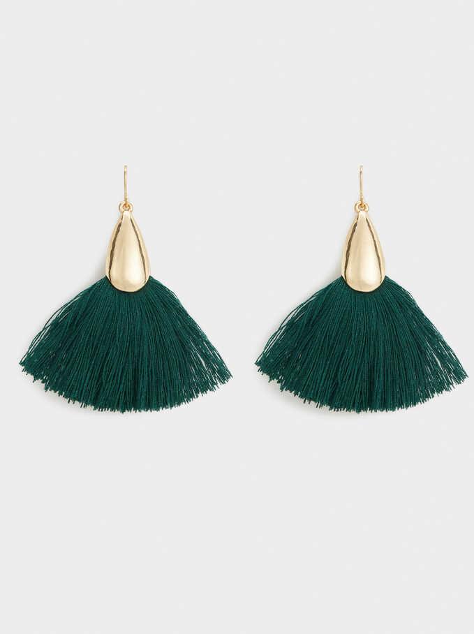 Medium Gleam Color Earrings, Green, hi-res