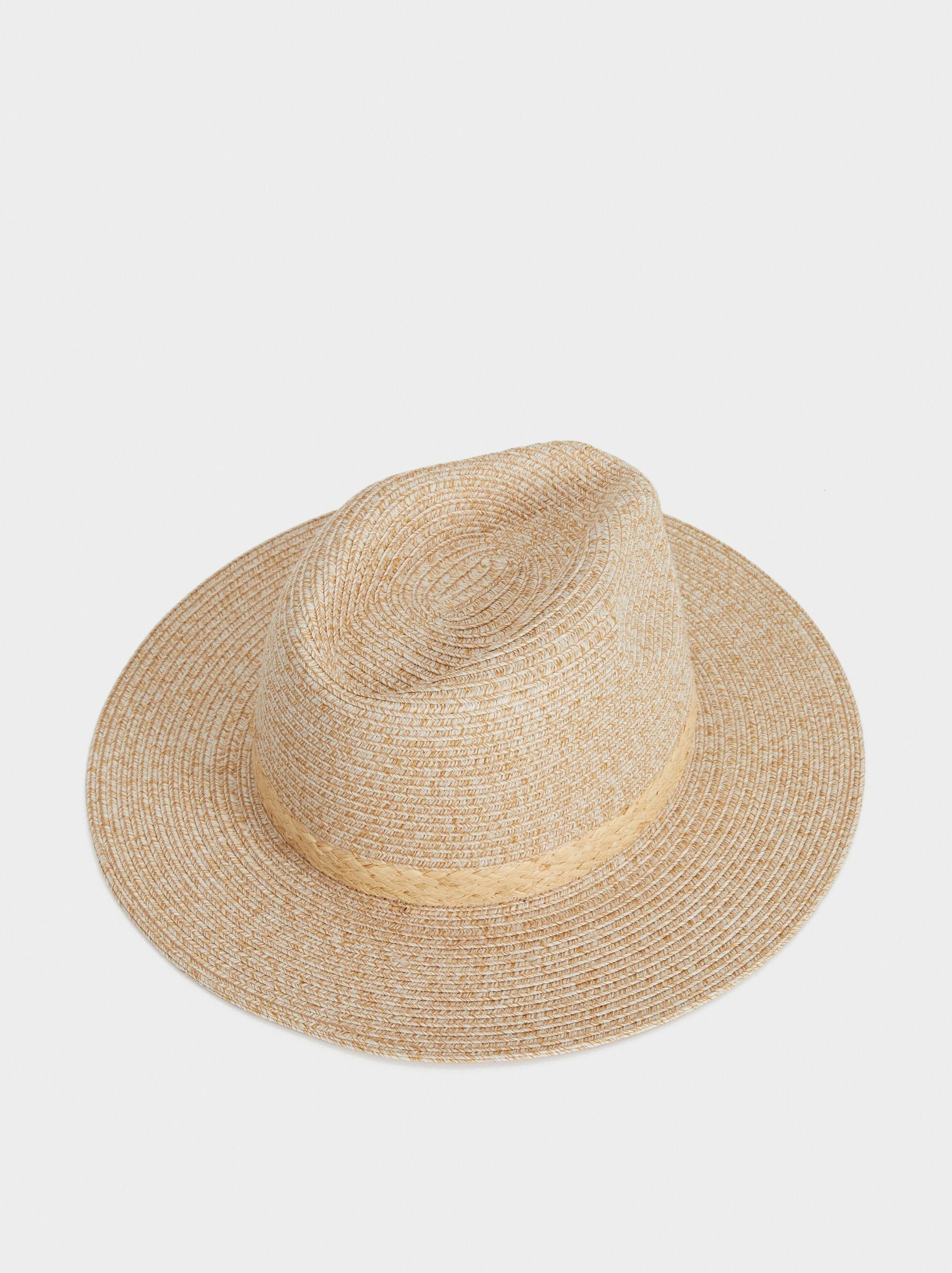 Raffia-Effect Fedora Hat, Beige, hi-res