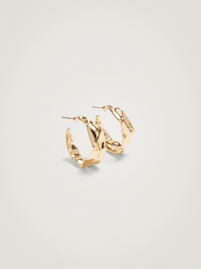 Small Irregular Hoop Earrings, Golden, hi-res