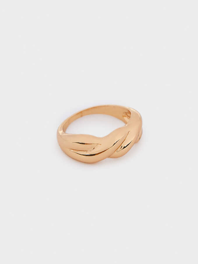 Gold Braided Ring, Golden, hi-res