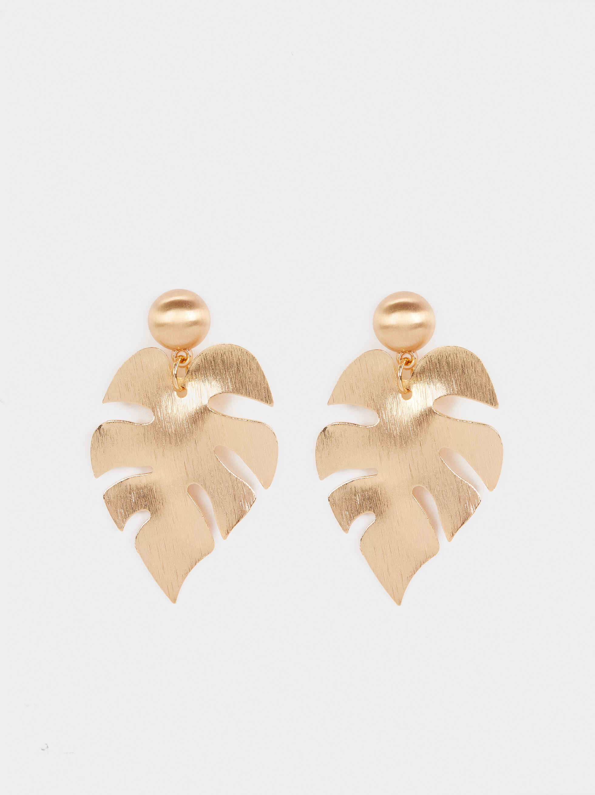 Gold Leaf Long Earrings, Golden, hi-res