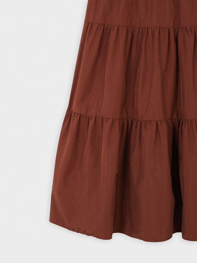 Long Tiered Skirt, Brick Red, hi-res