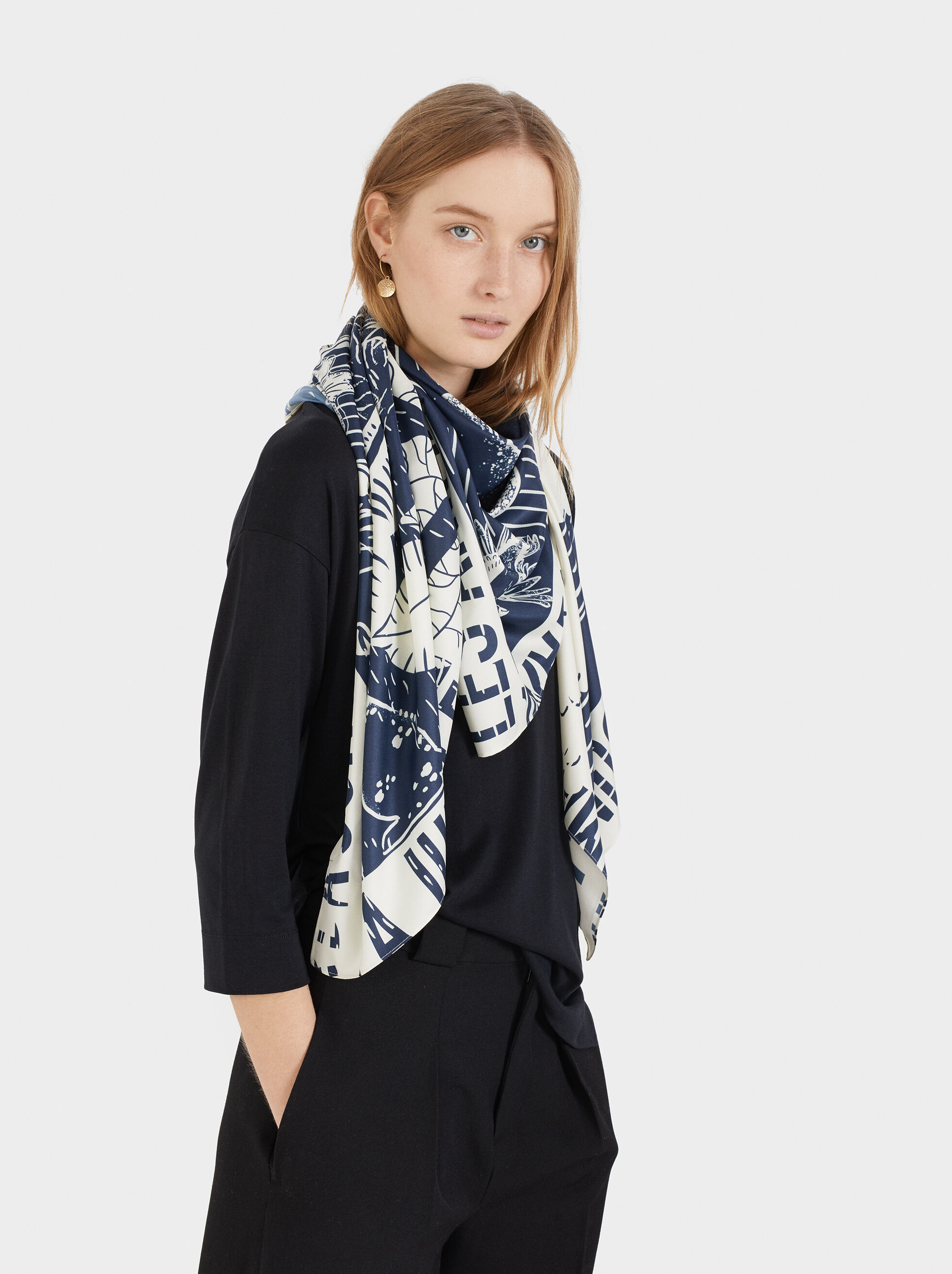 Printed Square Scarf, Blue, hi-res