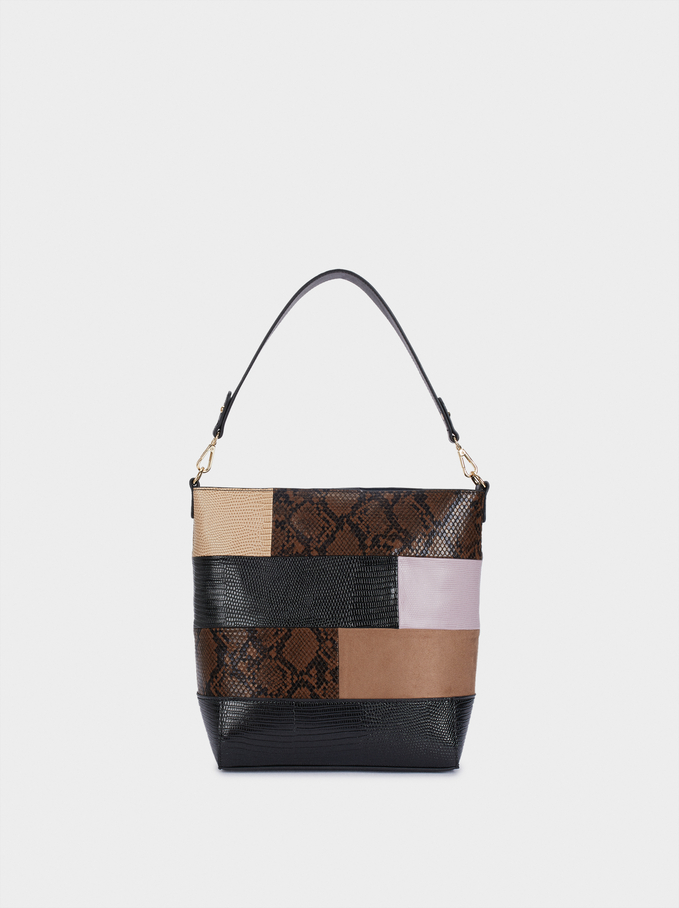 Patchwork Shoulder Bag With Detachable Shoulder Strap, Black, hi-res