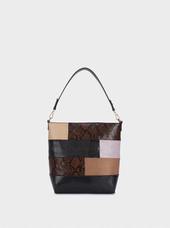 Patchwork Shoulder Bag With Detachable Shoulder Strap, Black, hi-res