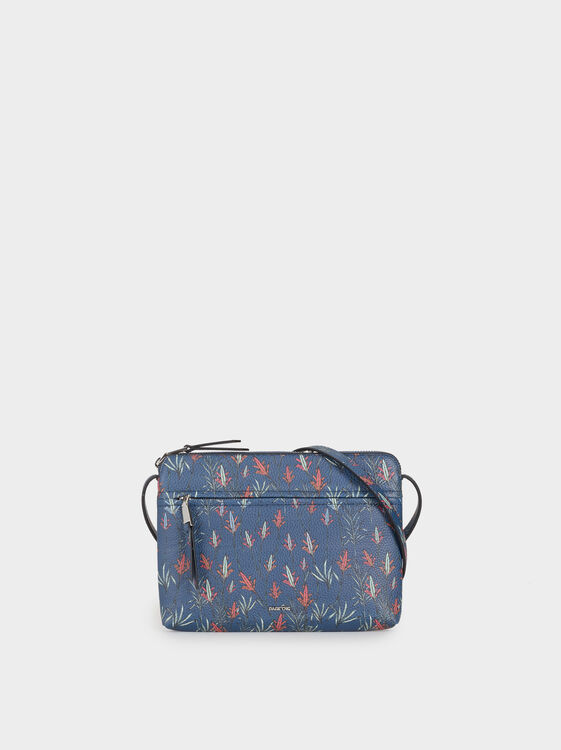 Floral Print Crossbody Bag, Navy, hi-res