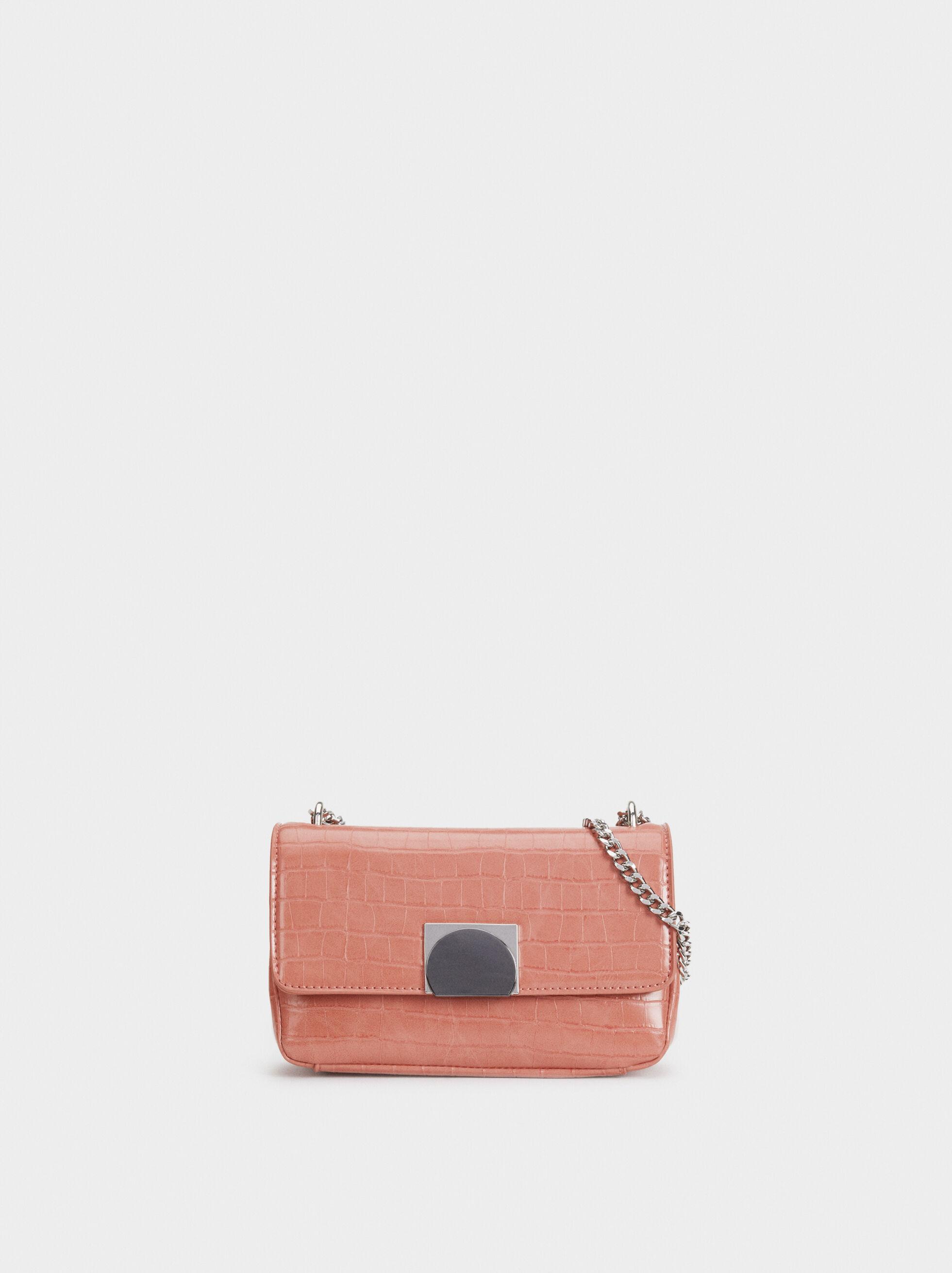 Embossed Mock Croc Shoulder Bag, Pink, hi-res
