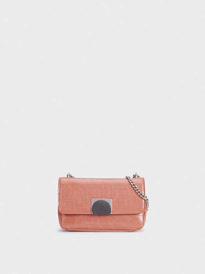 Embossed Mock Croc Shoulder Bag, Pink, hi-res
