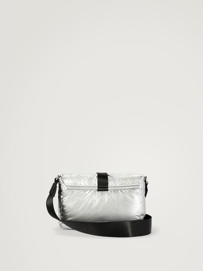 Nylon Crossbody Bag With Buckle, Silver, hi-res