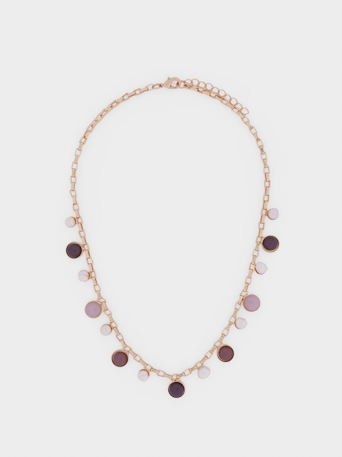 Short Necklace With Stones And Pearls, Multicolor, hi-res