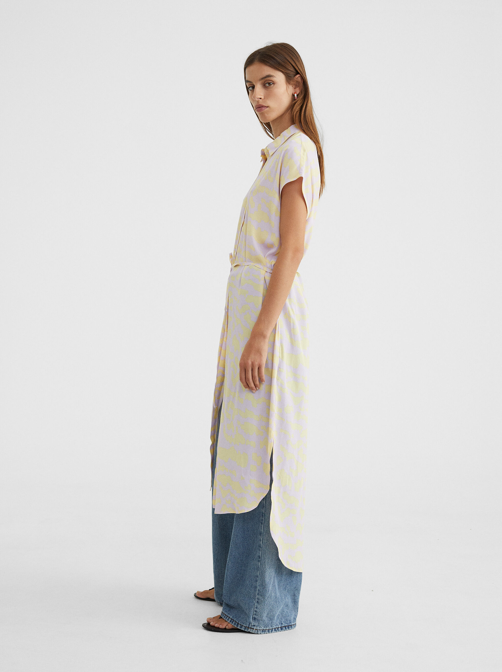 Shirt-Dress With Belt, Yellow, hi-res