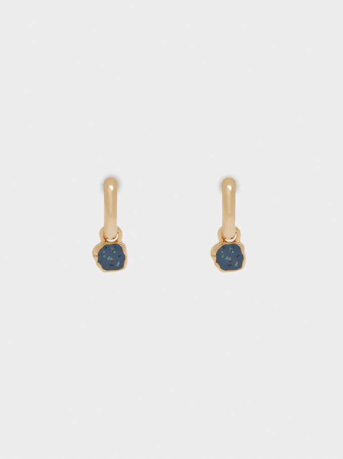 Small Hoop Earrings With Pendants, Blue, hi-res