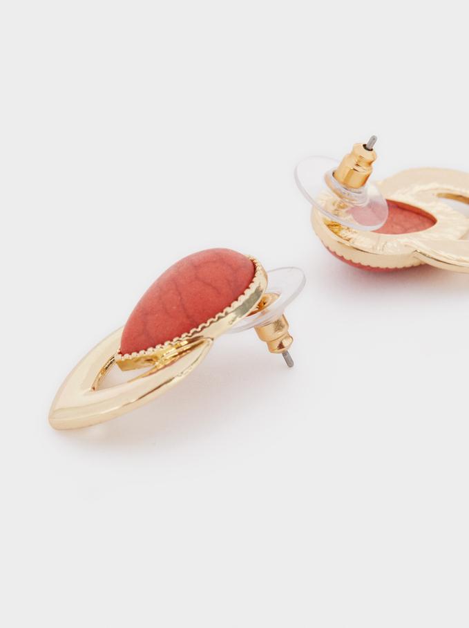 Recife Stone Stud Earrings, Coral, hi-res