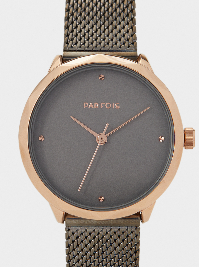 Watch With Mesh Strap, Black, hi-res