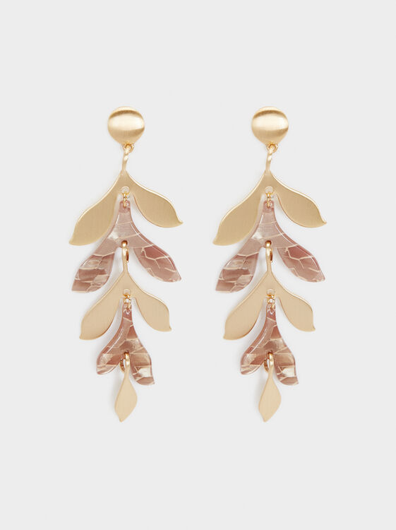 Creme Long Earrings, Camel, hi-res