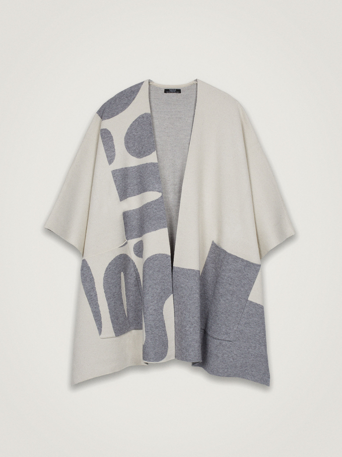 Open Knitted Poncho, Grey, hi-res